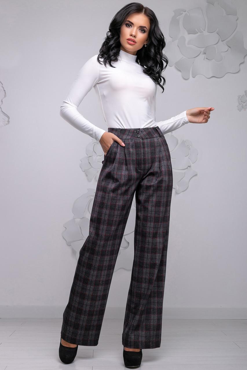 Женские широкие брюки в клетку, размеры от 42 до 48, костюмка