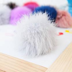 Помпон из натурального меха кролика 7-8 см, цвет серый