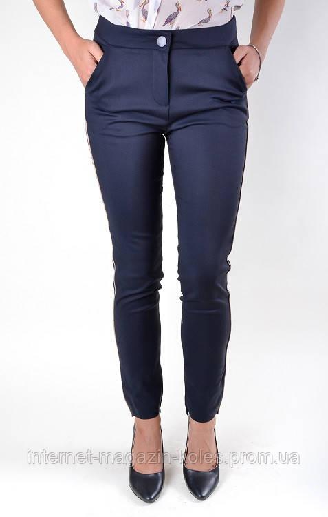 Классические синие брюки с боковым кантом, фото 2
