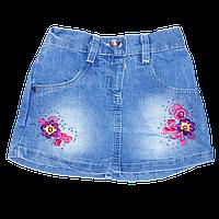 Детская джинсовая юбка  с вышивкой, короткая, Турция, ТМ Ромашка, р. 80, 86, 92 86 Синий