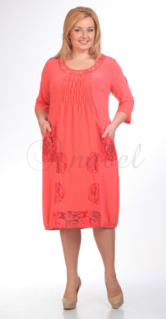 Платье Pretty-201/2 белорусский трикотаж, коралл, 52