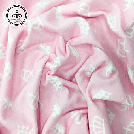 "Фланель ""короны белые на розовом"", фото 2"