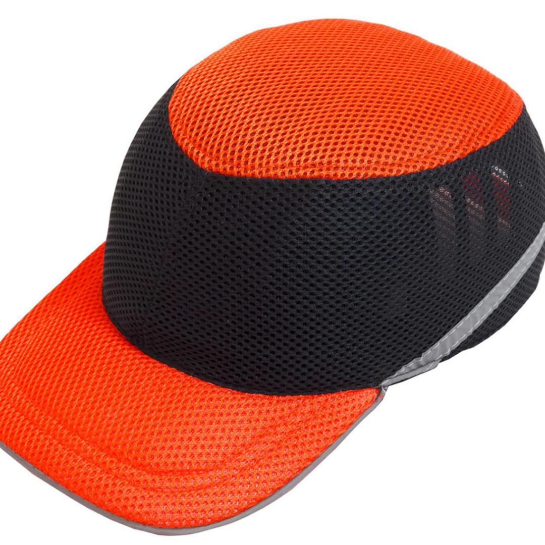 Каскетка кепка-каска ударопрочная со светоотражающей лентой цвет оранжево-чёрная