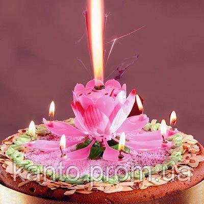 Свеча лотос музыкальная в торт 12 см