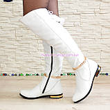 Ботфорты демисезонные кожаные белого цвета., фото 3