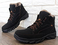 ТОЛЬКО 40 РАЗМЕР !!! Мужские ботинки зимние на меху эко-нубук (СГБ-5ч)_
