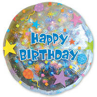 Фольгированный шар с рисунком Anagram Happy Birthday шары и звезды