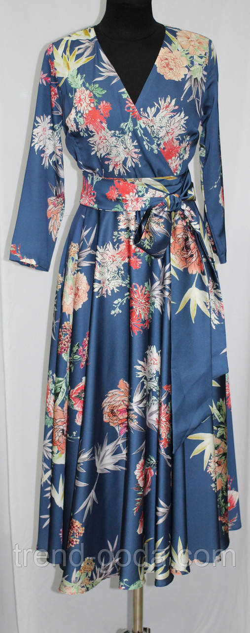 Платье женское с поясом, синее в цветы, атласное, Турция