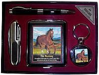 Подарочный набор-портсигар,брелок,ручка,нож YJ6273