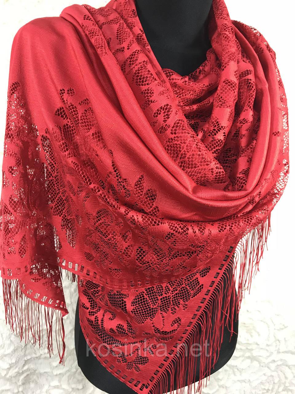 Женский красный гипюровый шарф (цв.2)