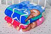 Плед детский флисовый с голубым Мишкай, фото 3