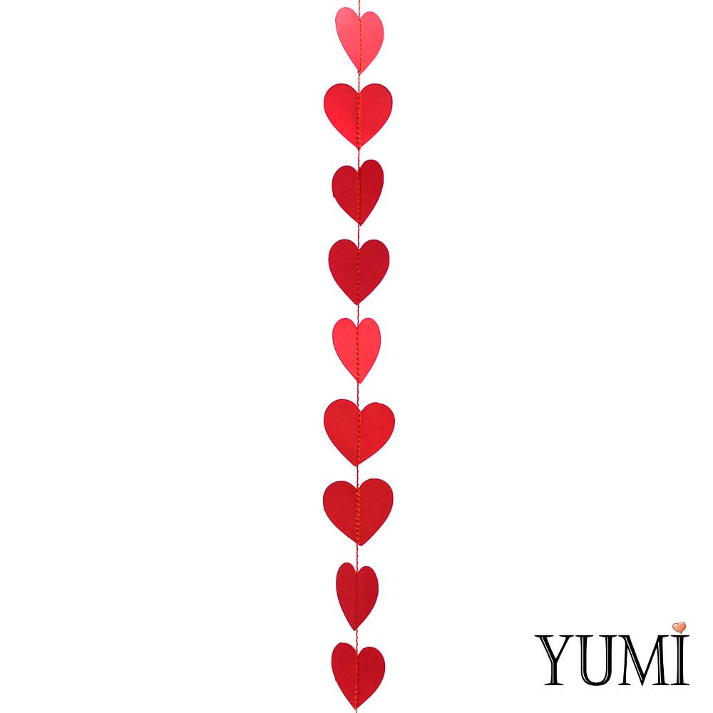 Декор: Гирлянда картон плоская Красные сердца 1,2 м