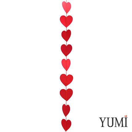 Декор: Гирлянда картон плоская Красные сердца 1,2 м, фото 2