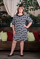 Платье Selta 704 размеры 58, 60, 62, 64 темно синий с розами
