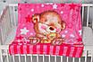 Плед детский флисовый гипоаллергенный с розовым Мишкай, фото 2