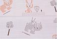 Сатин (хлопковая ткань)  мелкие бежевые животные леса (компаньон), фото 2