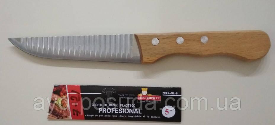 Нож ребристый с деревянной ручкой арт. 822-5-21 (25 см.)