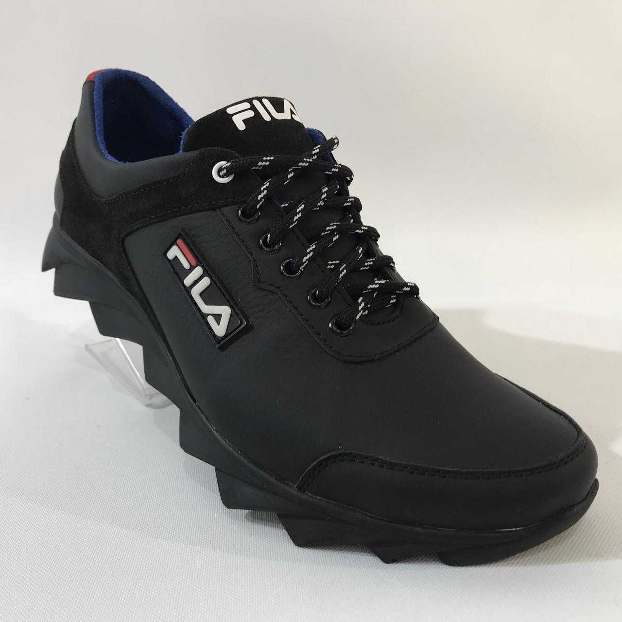 Мужские кожаные кроссовки Fila / черные