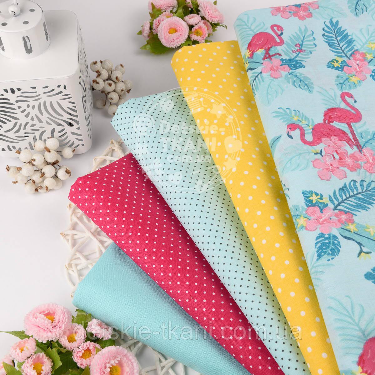 Ткань хлопковая с фламинго и цветами в сочетании с другими тканями.