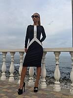 Платье средней длины с перфорированными вставками из экокожи  514, фото 1