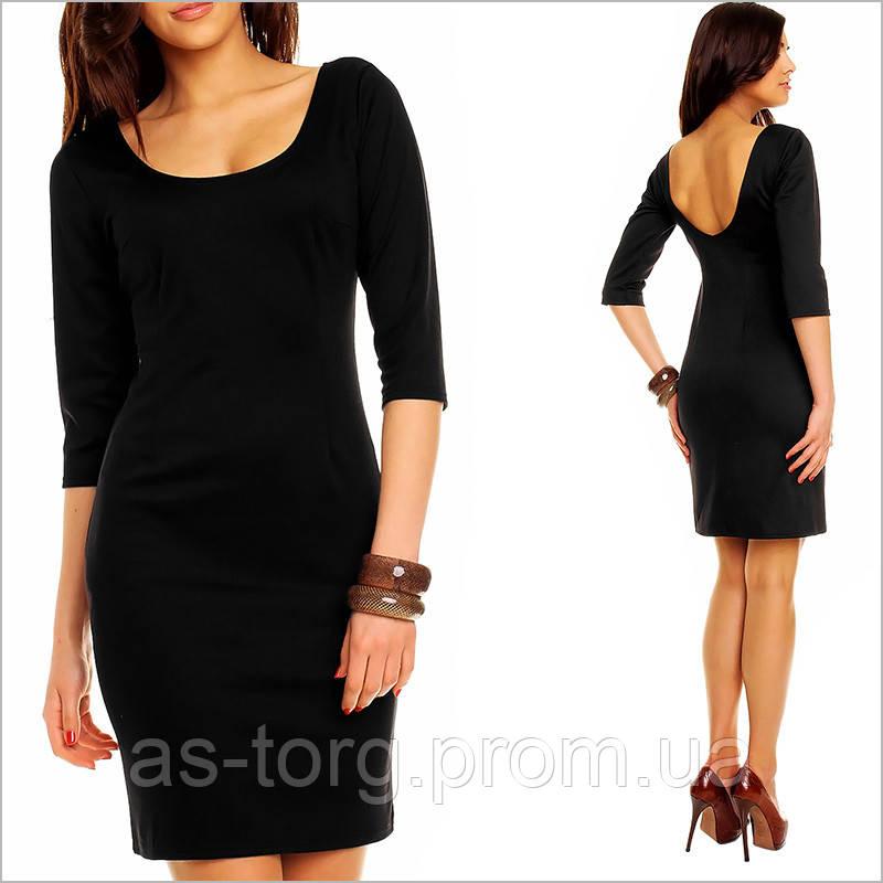 Платье черное рукав три четверти