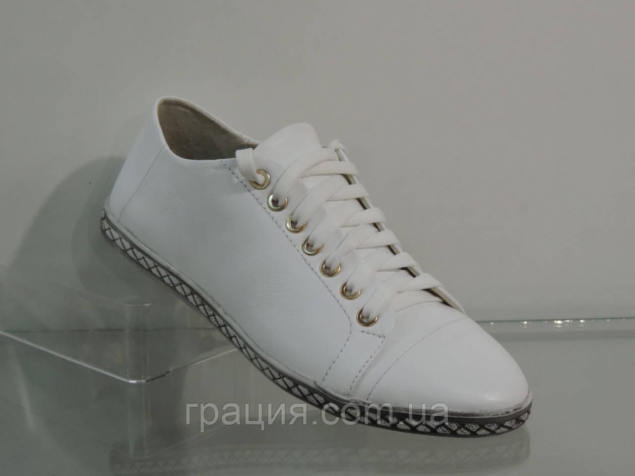 Белые спортивные кожаные женские туфли на шнуровке