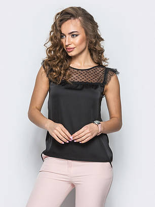(XS, S, M) Комбінована чорна блузка Senti