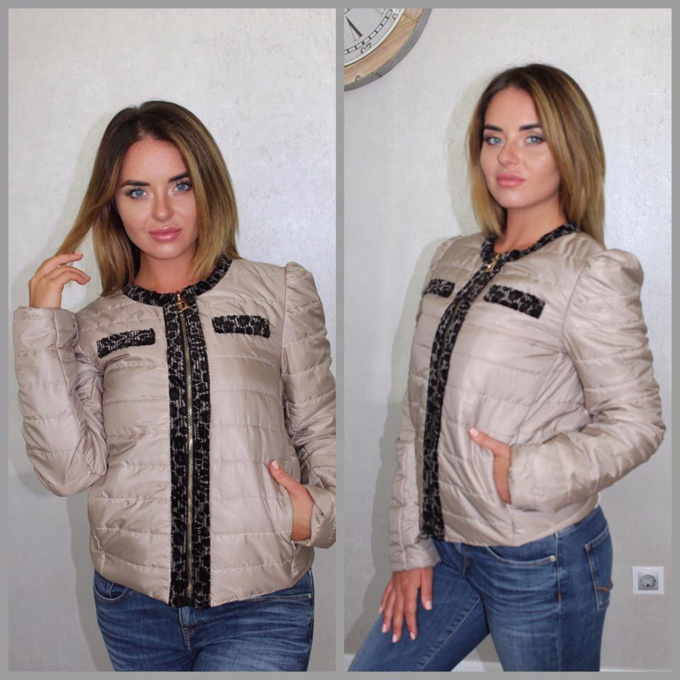 """Короткая стеганая женская куртка-жакет """"BELLA"""" с карманами (2 цвета)"""