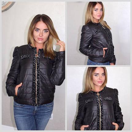 """Короткая стеганая женская куртка-жакет """"BELLA"""" с карманами (2 цвета), фото 2"""