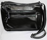 Женская кожанная сумка черная, молнии, фото 1