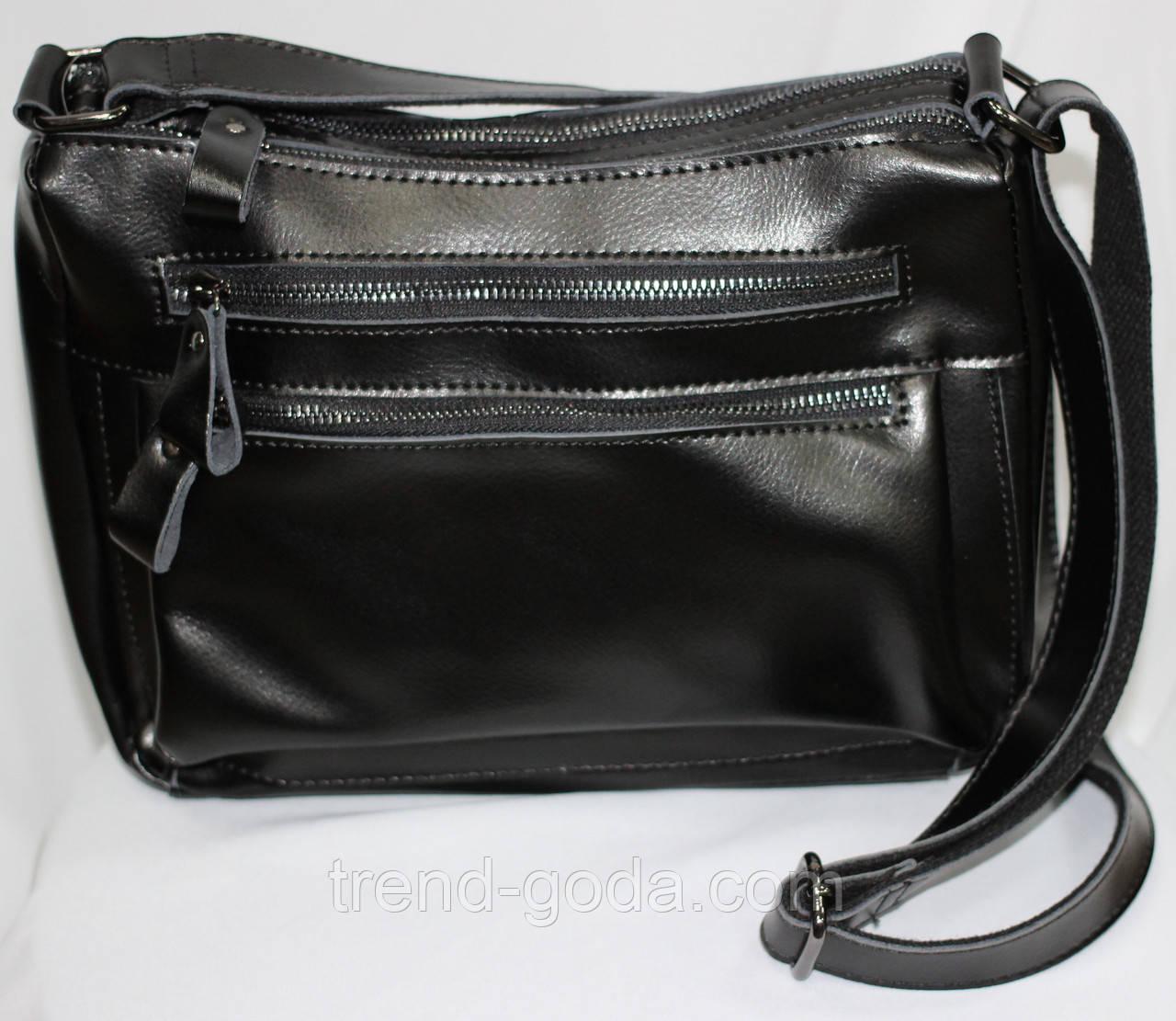 Женская кожанная сумка черная, молнии