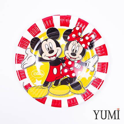 Тарелка картон Микки и Минни Маус красные полоски, 8 шт, фото 2