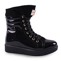 Стильные женские ботинки ( лаковые, зимние, на меху, на шнуровке, черные, плоская подошва, замша)