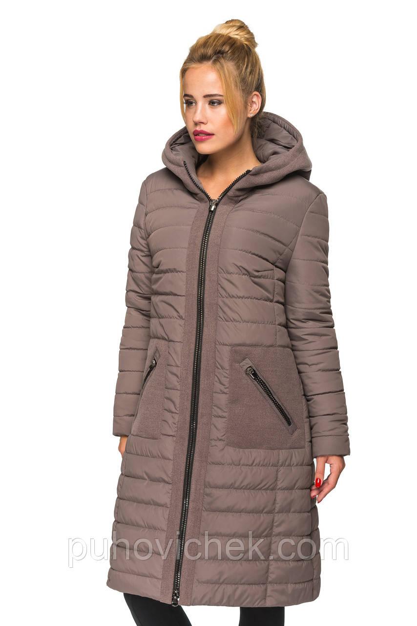 Зимняя женская куртка полупальто удлиненная с капюшоном