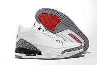 Женские кроссовки Air Jordan Retro 3 (White/Red/Cement Grey), фото 1