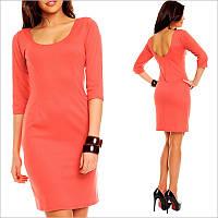 Коралловое платье с рукавами 3/4, модные платья