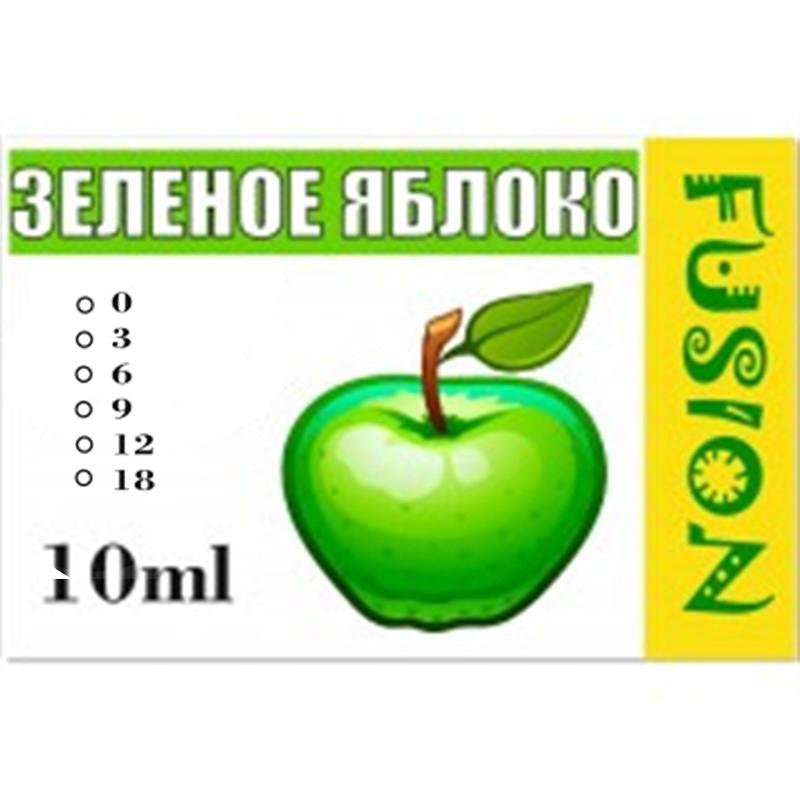FUSION Жидкость для электронных сигарет. Фруктовые вкусы. Зеленое яблоко, 0 мг