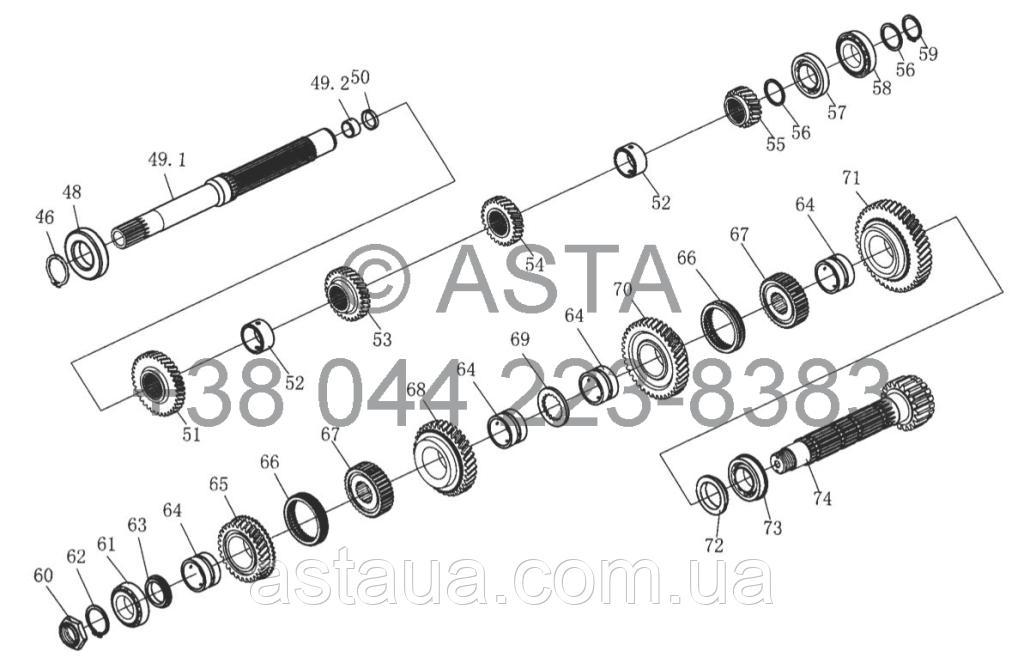 Карданный вал привода и планетарный редуктор передач (II) (опция) YTO X1254