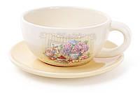 Суповая чашка 480мл с тарелкой 17.5см Гортензия BonaDi 844-708