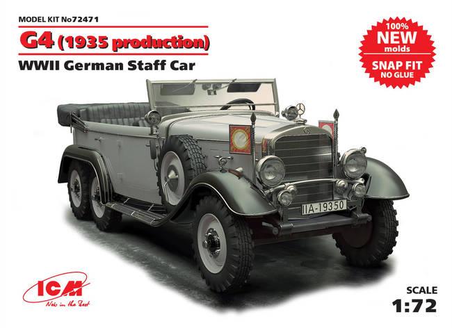 Сборная модель германского автомобиля G4 образца 1935 года ІІ МВ. 1/72 ICM 72471  , фото 2