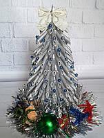 Елка новогодняя из макарон - серебряная - подарок на Новый год