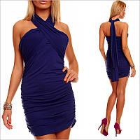 Синее платье через шею, короткое платье купить