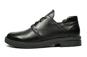 Черные кожаные женские туфли LONZA на низком ходу ( Только 40 размер )