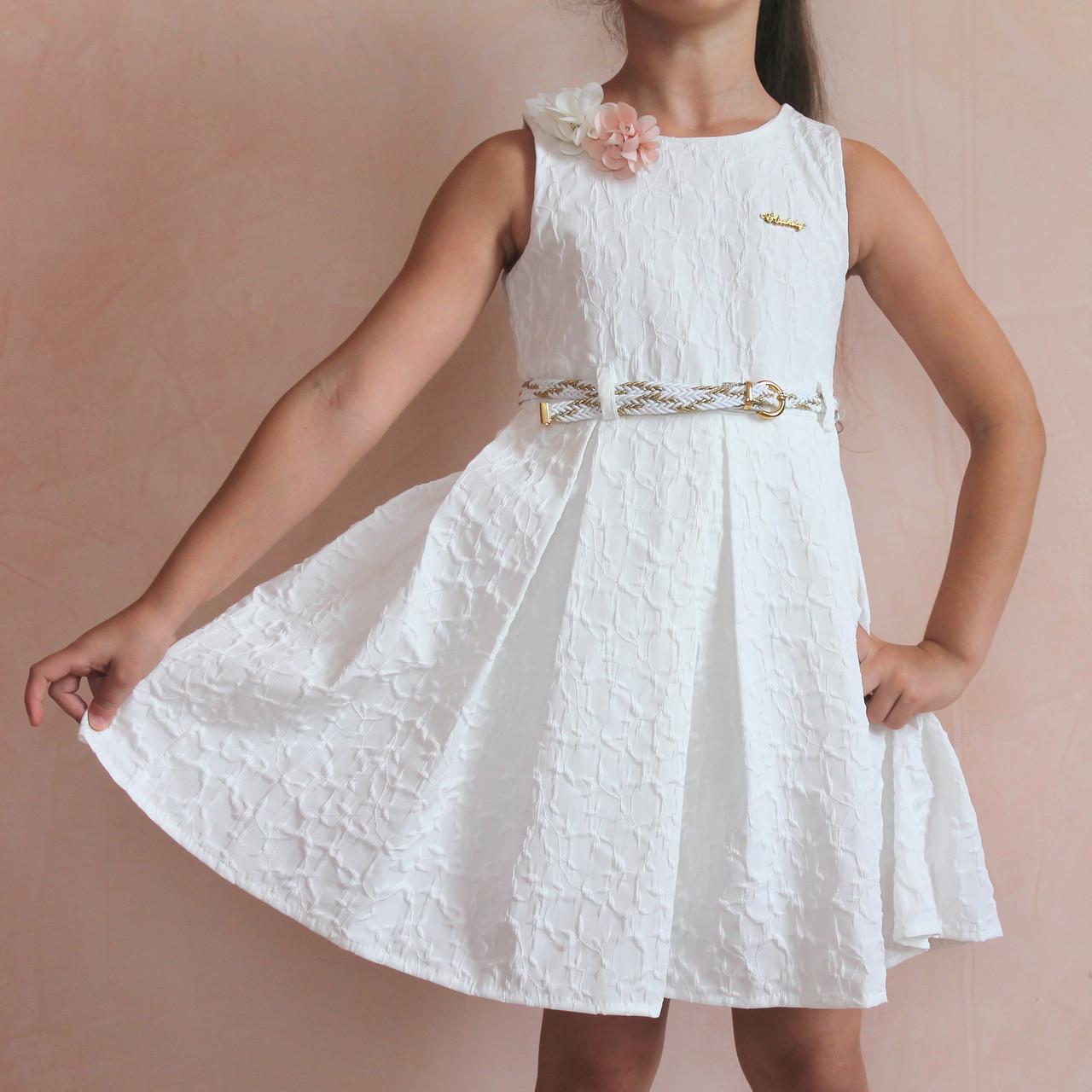 Детское белое платье на девочек Жатка с ремешком размер 6 лет