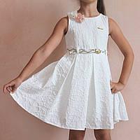 Детское белое платье на девочек Жатка с ремешком размер 6 лет, фото 1