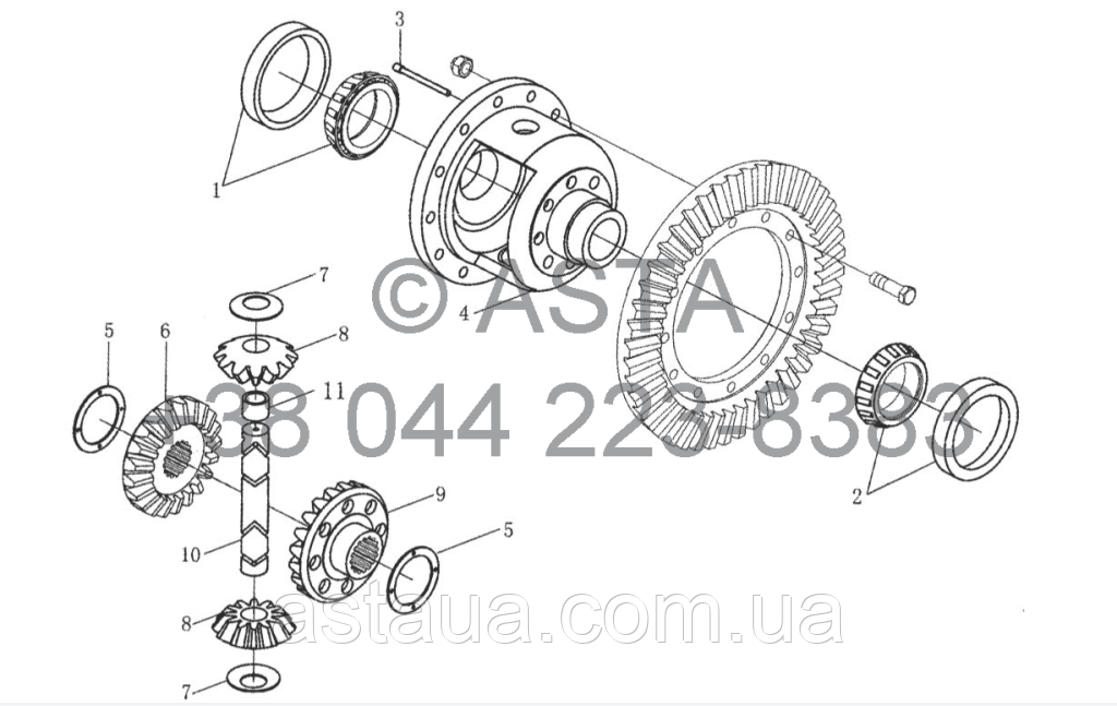 Задняя коробка передач - Дифференциал на YTO X1254