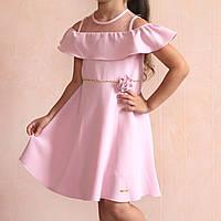 Детское розовое платье на девочку открытые плечи размер 5 лет