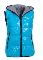 Куртка бирюзовая женская, без рукавов, с капюшоном, ветровка утепленная, верх полиэстер, подкладка – хлопок, м