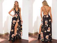 Женское длинное платье шифоновое в цветы с открытой спиной