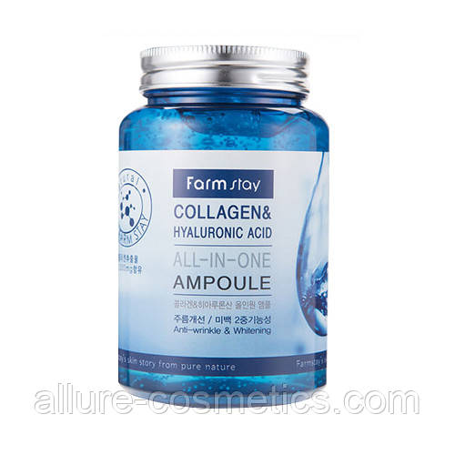 Сыворотка с коллагеном и гиалуроновой кислотой FARM STAY Collagen & Hyaluronic Acid All In One Ampoule